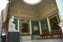 Sculpture room showing gilded ceiling