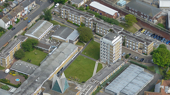 Aerial photo of Davidson, Temple and Lang building, formally student accommodation